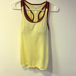 Yellow & Grey workout top with built in bra